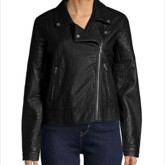 ca1077b3f William Rast Faux Leather Black Moto Jacket